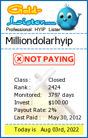 Milliondolarhyip Monitoring details on gold-lister.com