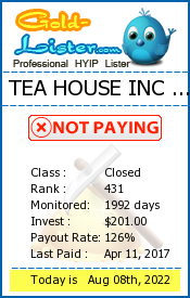 TEA HOUSE INC LIMITED Monitoring details on gold-lister.com