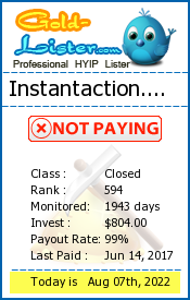 Instantaction.biz Monitoring details on gold-lister.com