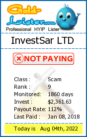 InvestSar LTD Monitoring details on gold-lister.com