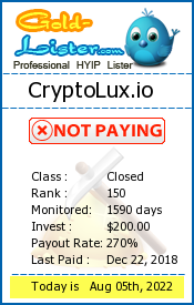CryptoLux.io Monitoring details on gold-lister.com