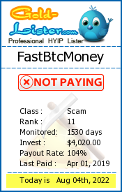 FastBtcMoney Monitoring details on gold-lister.com