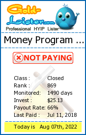 Money Program Limited Monitoring details on gold-lister.com