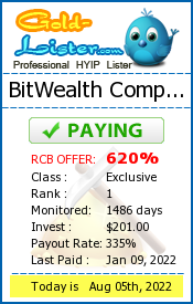 BitWealth Company Monitoring details on gold-lister.com
