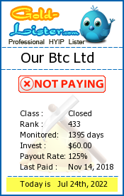 Our Btc Ltd Monitoring details on gold-lister.com