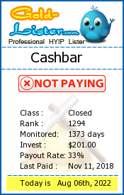 Cashbar Monitoring details on gold-lister.com