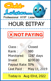 HOUR BITPAY Monitoring details on gold-lister.com