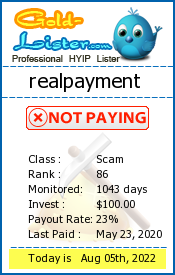 realpayment Monitoring details on gold-lister.com