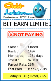 BIT EARN LIMITED Monitoring details on gold-lister.com