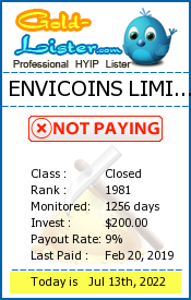 ENVICOINS LIMITED Monitoring details on gold-lister.com