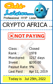CRYPTO AFRICA LTD Monitoring details on gold-lister.com