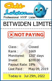 BITWIDEN LIMITED Monitoring details on gold-lister.com