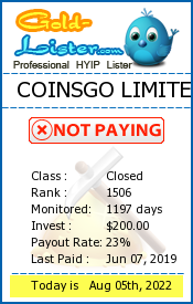 COINSGO LIMITED Monitoring details on gold-lister.com