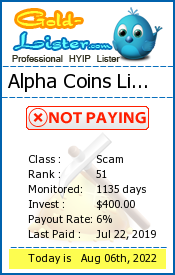 Alpha Coins Limited Monitoring details on gold-lister.com