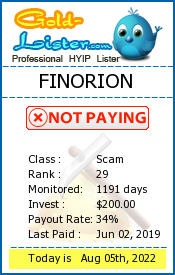 FINORION Monitoring details on gold-lister.com