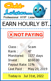 EARN HOURLY BTC LTD Monitoring details on gold-lister.com