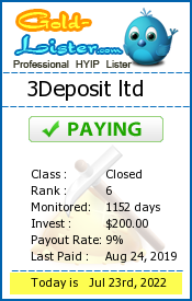 3Deposit ltd Monitoring details on gold-lister.com