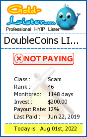 DoubleCoins LIMITED Monitoring details on gold-lister.com