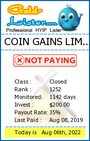 COIN GAINS LIMITED Monitoring details on gold-lister.com