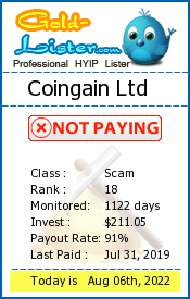 Coingain Ltd Monitoring details on gold-lister.com