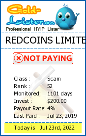 REDCOINS LIMITED Monitoring details on gold-lister.com