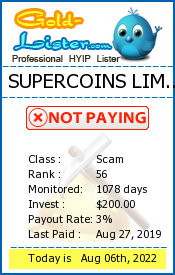 SUPERCOINS LIMITED Monitoring details on gold-lister.com
