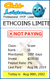 ETHCOINS LIMITED Monitoring details on gold-lister.com