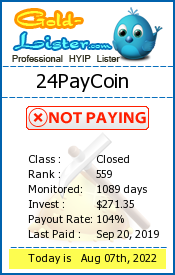 24PayCoin Monitoring details on gold-lister.com