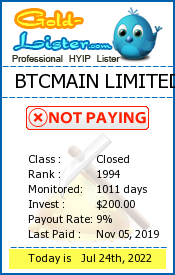BTCMAIN LIMITED Monitoring details on gold-lister.com