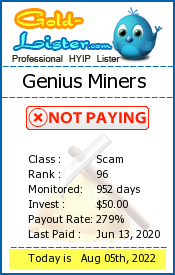 Genius Miners Monitoring details on gold-lister.com