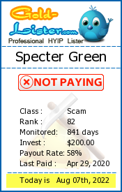 Specter Green Monitoring details on gold-lister.com