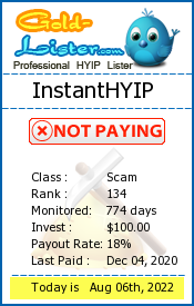 InstantHYIP Monitoring details on gold-lister.com