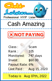Cash Amazing Monitoring details on gold-lister.com