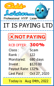 IT IS PAYING LTD Monitoring details on gold-lister.com
