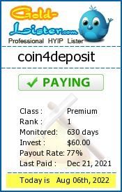 coin4deposit Monitoring details on gold-lister.com
