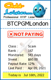 BTCPGMLondon Monitoring details on gold-lister.com
