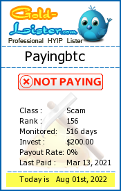 Payingbtc Monitoring details on gold-lister.com