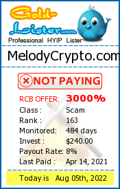 MelodyCrypto.com Monitoring details on gold-lister.com